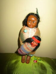 Lot Vintage Native American Ethnic Dolls -mother And Her Two Babies
