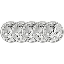 2020 Great Britain Silver Britannia £2 1 oz BU Five 5 Coins $136.16