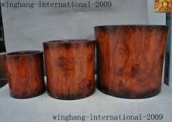 China Huanghuali Wood Carved Ancient Calligraphy Tool Brush Pot Pencil Vase Set