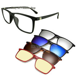 Magnetic glasses rectangle Polarized sunglasses 1 frame+5 clip on 50-20-140 New