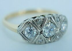 Vintage Woman's 14k Yellow And White Gold Diamond Engagement Ring