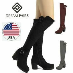DREAM PAIRS Womens Over Knee Thigh High Slouch Suede High Heel Boots Choose Size $19.19