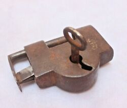 Lock And Key With A Unique Pattern To Unlock And Rare Shape Old Padlock Ir 133