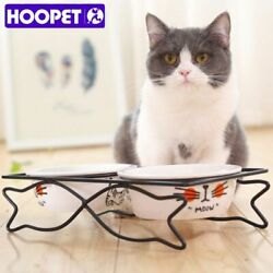 Pet Dog Cat Lovely Food Water Ceramic Bowl Two Bowls With Steel Frame