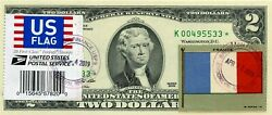 2 Dollars 2009 Stamp Cancel Flag 1912 And Coats Of Arms France Lucky Money 500