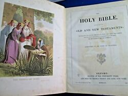 Vintage 1870 Large Oxford Holy Bible By Thomas Nelson Rebound In 1937 Gold Edges