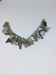 Vintage Elco Triple Sterling Silver Charm Bracelet With 10 Mixed Charms 35.4 Gr