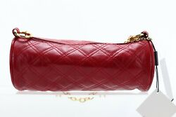 Helen Welsh Quilted Red Genuine Leather Barrel Bag Purse NWT $40.00