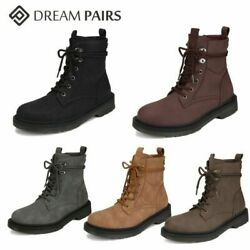 DREAM PAIRS Womens Winter Combat Booties Lace Up Round Toe Ankle Boots Shoes $19.99