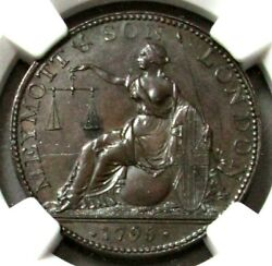 1795 Great Britain 1/2 Penny Middlesex-meymottand039s Corner Of Wormwood Ngc Ms 63 Bn