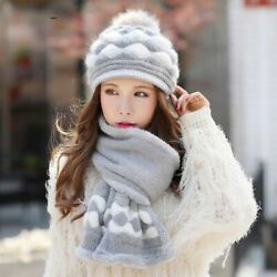 Winter Scarf Hats Set For Ladies Knitted Thick Warm Fur Stylish Head Neck Covers