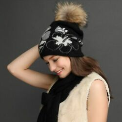 Women Hat Scarf Set Winter Thick Wool Knitted Casual Floral Pompom Patterned New