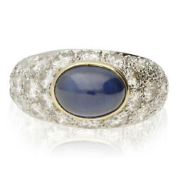 French Vintage Cabochon Sapphire And Diamond Domed Platinum Cluster Ring - 20th C
