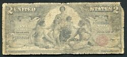 """Fr. 248 1896 2 Two Dollars """"educational"""" Silver Certificate Currency Note"""