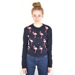 Run And Fly Blue Flamingo Cardigan 8 10 12 14 16 Kitsch Retro Quirky Vtg