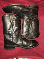 Mens Old West Black Leather Western Cowboy Boots Sz 9.5 Ee