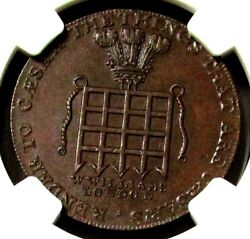 1795 Great Britain 1/2 Penny Middlesex-williamsand039 London Ngc Mint State 64 Brown