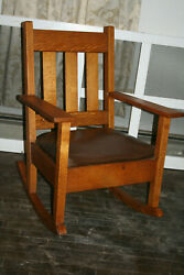 Antique Mission / Arts And Craft Rocking Chair Tiger Oak Spring Upholstered Seat