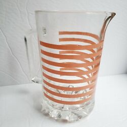 Vintage Italian Made Glass Juice Water Pitcher Striped Pastel Pink Coral Jug