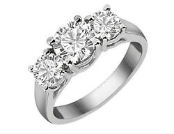 4.50ct Forever One Moissanite 4 Prong 3-stone Ring 14k White Gold Candc Certified