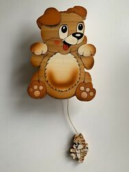 Bartolucci Wood Wall Hanging Music Box With Pull String Cat Dog Kids Toy
