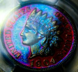 1904 Pr63 Rb Indian Head Penny Cent Proof Gorgeous Rainbow.