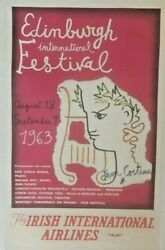 Original Vintage Edinburgh Festival Irish Intand039l Airlines Poster Linen Backed