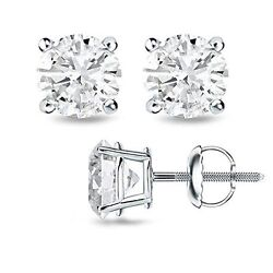 Round H/i Si1-si2 Genuine Diamond 14k Solid Gold Stud Earrings