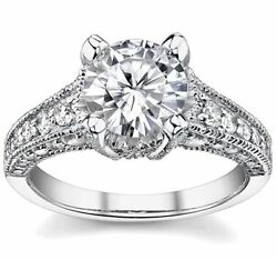1.25ct Round Forever Brilliant Moissanite And Diamond Antique Engagement Ring