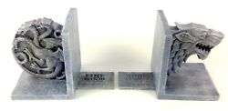 Game Of Thrones Bookends Stark And Targaryen Sigil House Hbo Rare New In Box