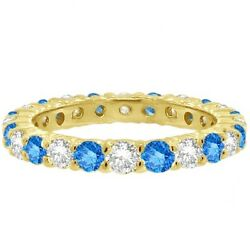 2ct Fancy Blue And White Diamond Eternity Ring 14k Yellow Gold