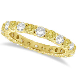 2ct Fancy Yellow Canary And White Diamond Eternity Ring 14k Yellow Gold