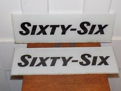 """Vintage Pair Of Nos """"sixty-six"""" Gas Station Pump Glass Signs"""