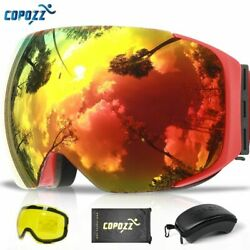 Copozz Magnetic Ski Goggles With Quick-change Lens And Case Set Uv400 Glasses