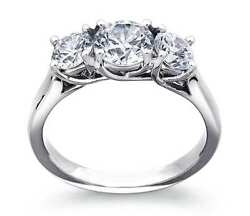 2.00ct Forever One Def Moissanite 3-stone Trellis Ring White Gold Candc Certified