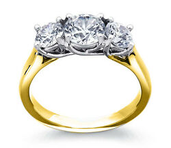 2.00ct Forever One Moissanite 3-stone Trellis Ring Two Tone Gold Candc Certified