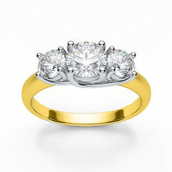 4.00ct Forever One Moissanite 3-stone Trellis Ring Two Tone Gold