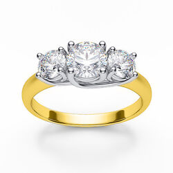 5.50ct Forever One Moissanite 3-stone Trellis Ring Two Tone Gold 14k W And Y Gold