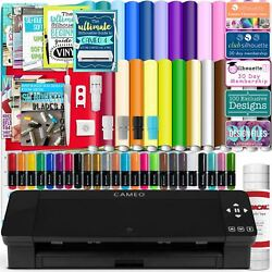 Silhouette Black Cameo 4 W/ 26 Oracal Glossy Sheets Guides 24 Sketch Pens