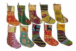 20 Pc Lot Indian Vintage Recycled Cotton Kantha Christmas Stockings Hangers Gift