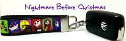 Nightmare Before Christmas Key Fob Wristlet Keychain 1quot;wide Zipper pull $6.50