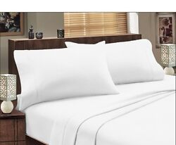 White Solid Fitted Sheet Pillowcase Pair 800 Tc Cotton Us Bed Size Deep Pocket