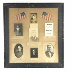 Rare Framed Picture Collage Civil War And Wwi Soldier Photos Lyman U. Humphrey