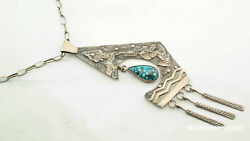 Brutalist Native American Sterling Silver Blue High Grade Turquoise Necklace