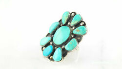 Native American Cluster Sterling Silver Ring Size 10 Blue Turquoise Shield