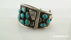 Native American Sterling Silver Cuff Bracelet Blue Turquoise