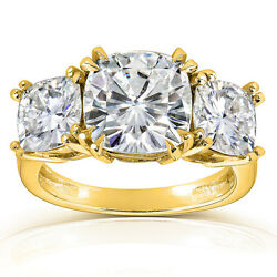 5ct Cushion-cut Moissanite Three-stone Engagement Ring In 14k Yellow Gold