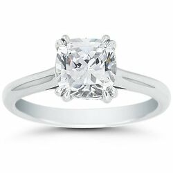 3.50ct Cushion Cut Forever One Def Round Moissanite Double Prong White Gold Ring