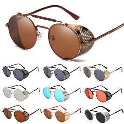 Retro Steampunk Sunglasses Style Inspired Round Metal Circle Side Shield Goggles $9.99
