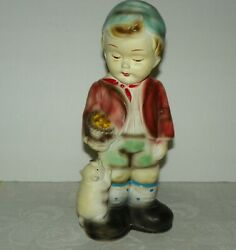 Vintage Carnival Chalkware Young Boy W Pig Piggy Bank Made In Japan 11.5 X 5 X 3